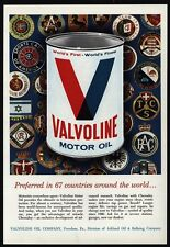 1964 VALVOLINE Motor Oil - Giant Can - Different Country Crest - VINTAGE AD