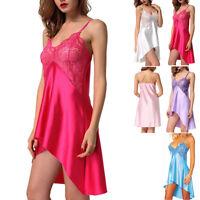 Womens Silk Satin Robe Nightdress Lingerie Night Gown Chemise Nightie Bathrobe