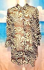MODA INTERNATIONAL Womans TUNIC Top Button Down SHEER LIGHTWEIGHT Shirt Lg