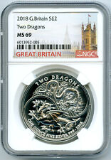 2018 2PD GREAT BRITAIN 1OZ SILVER TWO DRAGONS NGC MS69 RARE