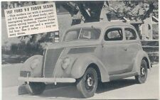 Ford V8 Tudor Sedan 1937 Salesmans Card Period Postcard