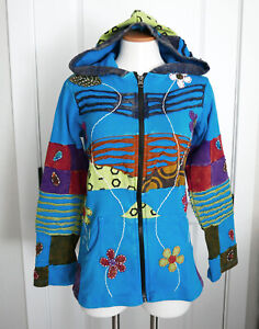 NEW, M, BOHEMIAN FLOWERS & PATCHWORK COTTON HOODIE JACKET HANDCRAFTED FAIRTRADE