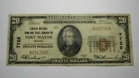 $20 1929 Fort Wayne Indiana IN National Currency Bank Note Bill! Ch. #7725 VF!
