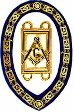 Blue Lodge Chain Collar Master Mason BLUE BACKING with Square Compass 01