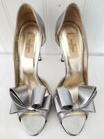 VALENTINO HIGH HEEL SILVER LEATHER  D'ORSEY SIZE 39