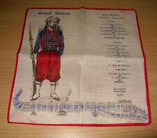 Vintage Handkerchief Hankie Hanky Bateaux Mouches French Menu Gourmet Map