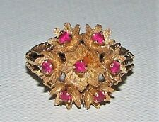 4. Estate Beautiful 18K Gold Ruby Floral Dome Cocktail Ring 6-3/4""
