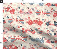 Motorcycles Bikes Motorcycle Scooter Flowers Spoonflower Fabric by the Yard