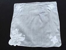 Vintage White On White Floral AppliquÉ Ladies' Hankie/Handkerchief