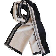 Bufanda Para Hombre Con Diseño Griego Negro/Beige Bicolor Pañuelo Cuadros Rayas