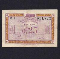 France 0.25  Franc 1923 P-R3  Occupied German Territory  VF