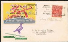 1933 australia gala day pigeongram tied label flown cover with contents