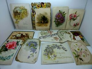 Superb Collection of 12 Edwardian Christmas Cards Featuring Flowers C1908
