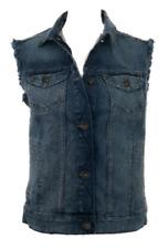 WOMEN'S NEW M&S DENIM VEST GILET SLEEVELESS JACKET UK 18