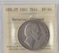 1865 German State of Bavaria Thaler- 90% Silver- ICCS: EF40- Million Minted ONLY
