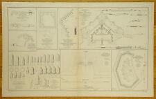 AUTHENTIC CIVIL WAR MAP ~ PLANS OF FORTS-BATTERIES-VA. & ALA.-PROJECTILES-1864