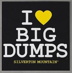 SILVERTON MOUNTAIN COLORADO I LOVE BIG DUMPS SKI SNOWBOARD AREA RESORT STICKER