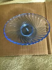 Blue Glass Pedestal Soap Dish 1 3/4 inches Tall -New