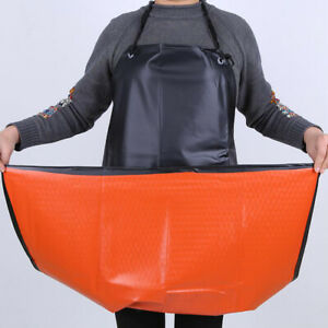 Men Women Apron Waterproof Black Orange PVC Protective PU Plastic Industrial