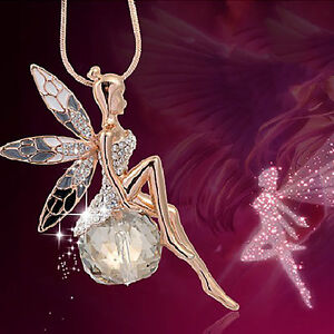 New Elegant Women Crystal Gold Fairy Angel Wing Pendant Necklace Jewelry Gift