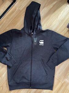 G Star New Mens Black Heather (Dark Grey) Medium Zip Up Hoodie RRP £79.99