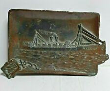 P&O SS Maloja 1911 sunk 1916 solid Bronze Cigar ashtray 1st class smoking room