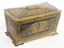 SUPERB Large Antique Early 19th Century Brass / Ebony Boulle Tea Caddy / Casket