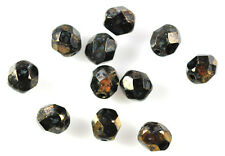 50 Black Bronze Picasso Faceted Round Glass Beads 6MM