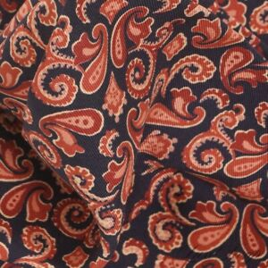 NWOT Italy Made 100% Silk Navy Midnight Coral Rust Dancing Paisley Pocket Square