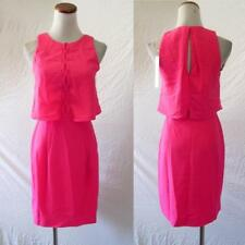 NEW Adelyn Rae ANTHROPOLOGIE Neon Pink OVERLAY BODICE Lace Up PLEATED DRESS XS