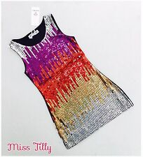 🖤 Girls Sparkle Sequin Dress Silver Gold Red Ages 4-14 60's Dance Christmas