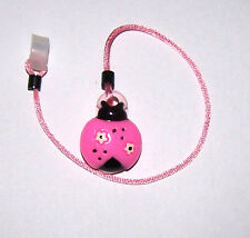 Children's Hearing Aid SAFTY LEASH RETAINER CLIP for 1 sided H.A. ..PINK LADYBUG