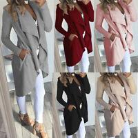 Fashion Big Lapel Long Sleeve Wind Coat Women Solid Colors Medium Length Outwear