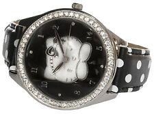Hello KITTY OROLOGIO NERO London Orologio da Polso con Diamanti Luccicanti al quarzo regalo inscatolato