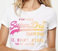 Superdry Womens Shirt Shop White T-Shirt With Colour Fade Logo, Size 12/M/Medium