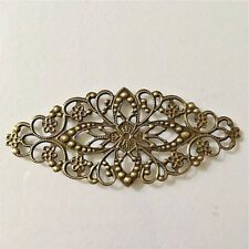"10 Antique Bronzed FLOWER FILIGREE WRAP CONNECTORS 3-1/8"" x 1-3/8"" (80mm) (13806"