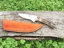 Custom D2 Steel & Stag Antler Hunting Knife (Bird & Trout) by DCKC FREE Ship