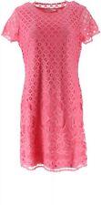 Isaac Mizrahi Stretch Lace Short Slv Dress Bright Pink L NEW A288082