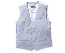 Chris Mens Casual Pinstripe Pattern Sleeveless Cotton Vest Light Blue Size M NWT