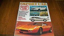 1972 IMPORT CAR BUYER GUIDE  HONDA DATSUN FIAT MERCEDES PORSCHE TOYOTA SAAB
