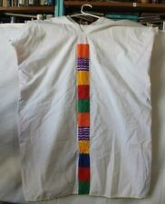 Womens Mexican Cotton Tunic/blouse Vintage white with  colors hippie boho