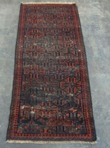 F2749 Vintage Handmade Afghan Tribal Baluchi Wool Home Decor Rug 2 x 4'5 Feet