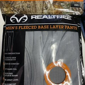 Realtree Fleeced Pants Base Layer Size XXLarge NEW Fitted Performance Grey