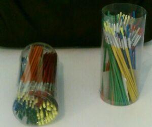10 - 288  Children paint brushes  17 cm long - six mixed colours  art painting