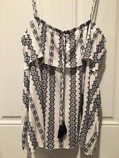GAP WOMEN'S STRAPPY SLEEVELESS TOP WINTER CLOTH WHITE AND NAVY SIZE XL