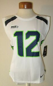 NWT Nike Seattle Seahawks FAN #12 Womens Sleeveless Jersey Top M White MSRP$55