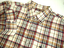AG Adriano Goldschmied Mens Shirt XL Beige Red Plaid Long Sleeve Collared Button