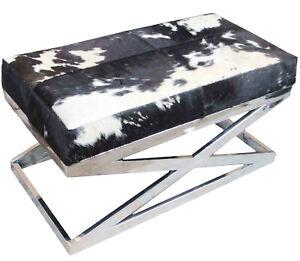 Handmade Designer Black and White Hairy Leather Bench