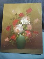 Original Oil Painting on Board Floral Arrangement Pallet Knife 8X10 Roses 1970's