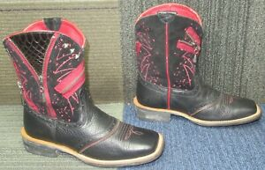 Wmns ARIAT Fatbaby Zipitbaby Western Leather Ankle Boots 7 B